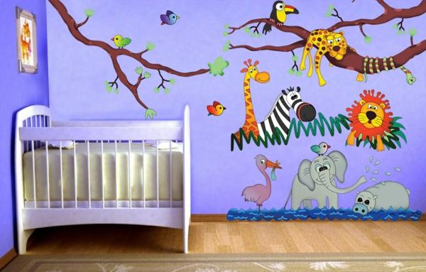stickers-pour-chambre-bébé-des-animaux-colorés-sur-un-fond-lilas