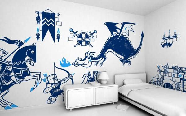 stickers-pour-chambre-bébé-un-dragon-et-un-chevalier
