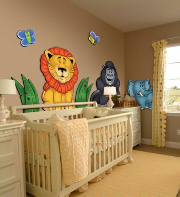 stickers-pour-chambre-bébé-le-lion-et-ses-amis