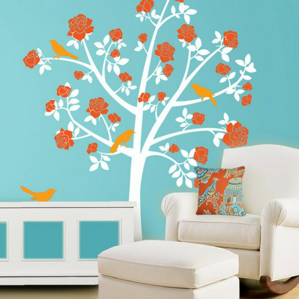 stickers-pour-chambre-bébé-un-arbre-sur-un-mur-bleu