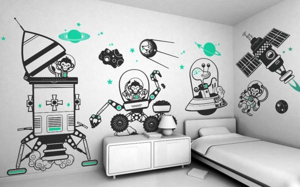 stickers-pour-chambre-bébé-vaisseaux-cosmiques-avec-des-animaux