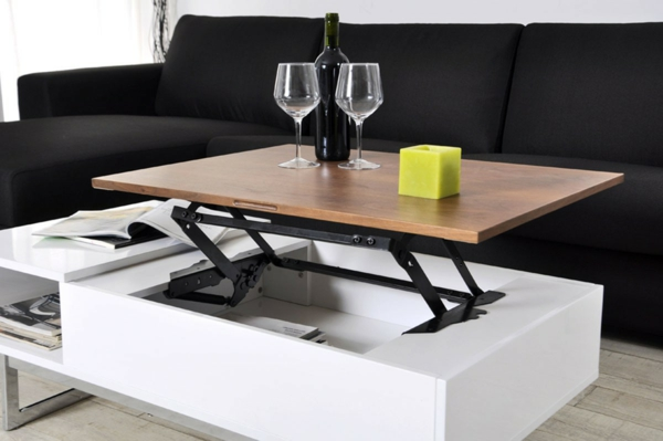 Innovation table de salon relevable for Table basse avec plateau relevable