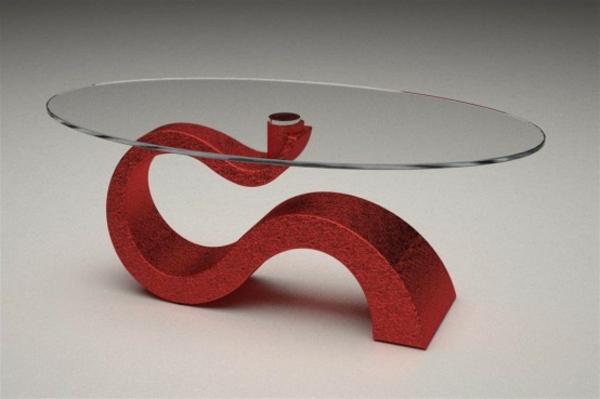 table-basse-ovale-apiètement-rouge
