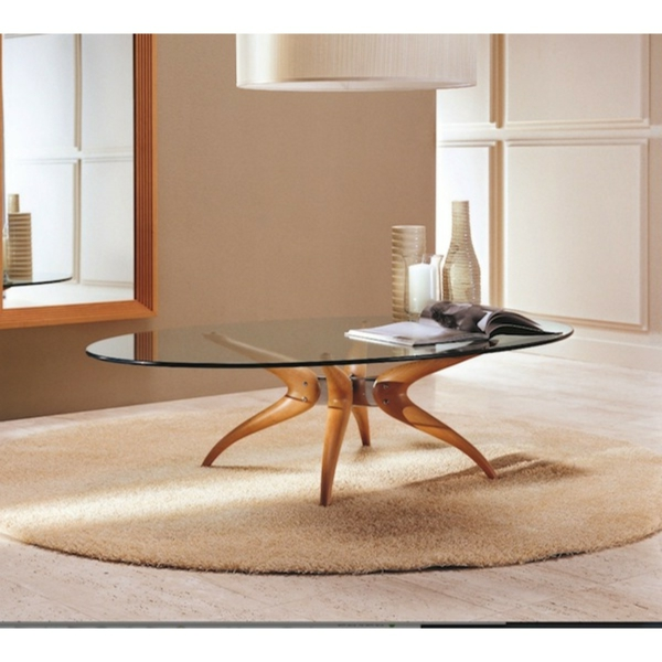 La table basse ovale variantes modernes d 39 un meuble for Table de salon bois et verre