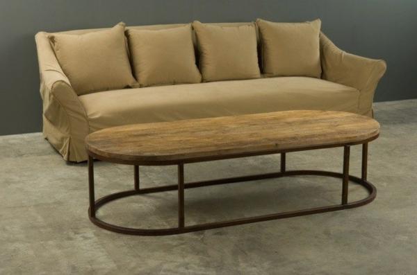 La table basse ovale variantes modernes d 39 un meuble for Table basse fer forge bois