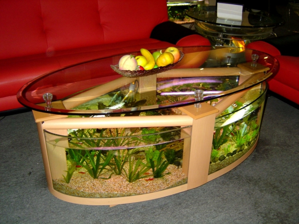 La table basse ovale variantes modernes d 39 un meuble classique - Table basse aquarium design ...