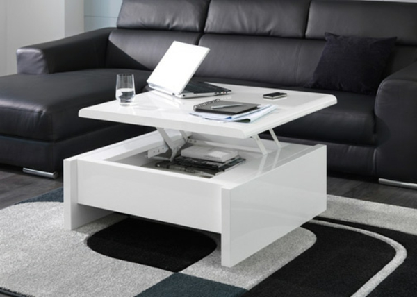 Innovation table de salon relevable for Table basse pour petit salon