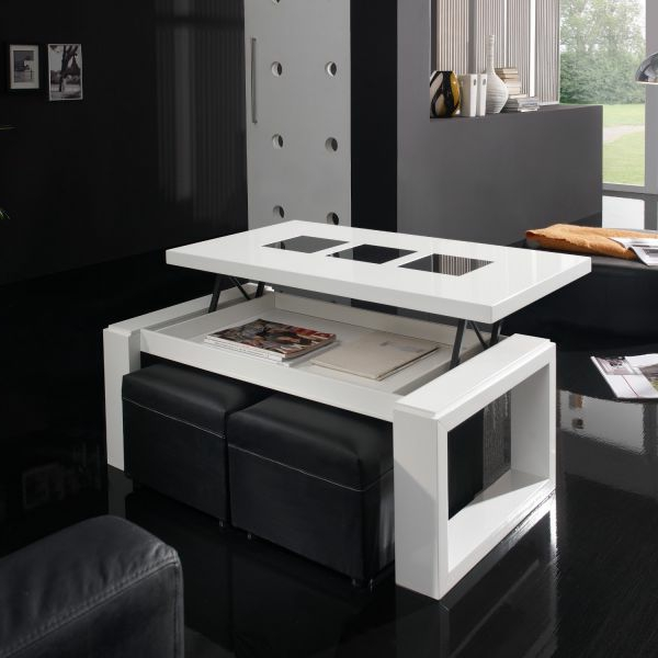 Innovation table de salon relevable - Table basse relevable blanche ...
