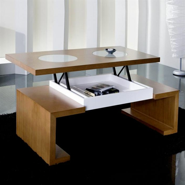 Innovation table de salon relevable - Table relevable design ...