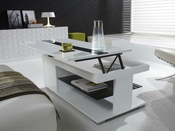Innovation table de salon relevable - Table basse relevable en bois ...