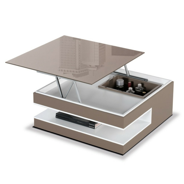 Innovation table de salon relevable - Table basse laquee beige ...