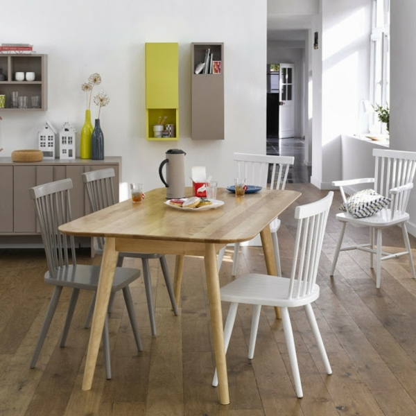 La d co scandinave de la cuisine - Table cuisine bois blanc ...