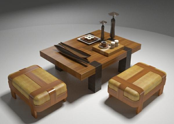 tabouret-japonais-et-table-basse-en-bois