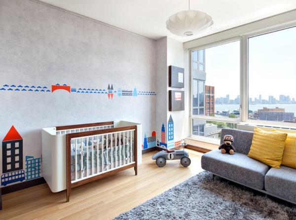 tapis-chambre-bebe-bleu-vue-ville