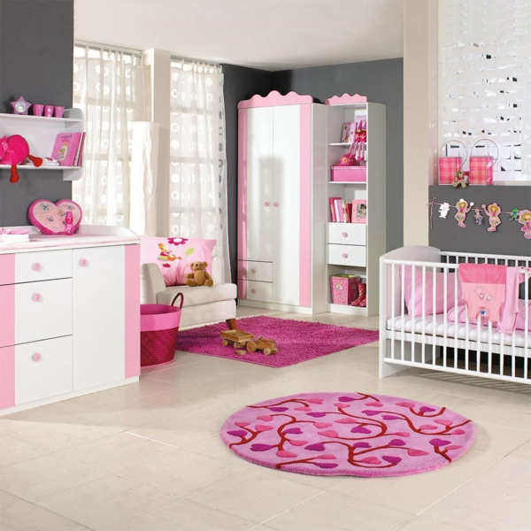 tapis-chambre-bebe-rose-ronde