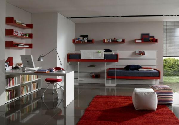 tapis-de-chambre-ado-rouge-dans-une-chambre-ado-aux-accents-rouges