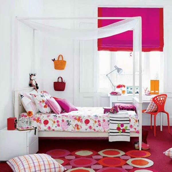 tapis-de-chambre-ado-cercles-en-rouge-et-orange