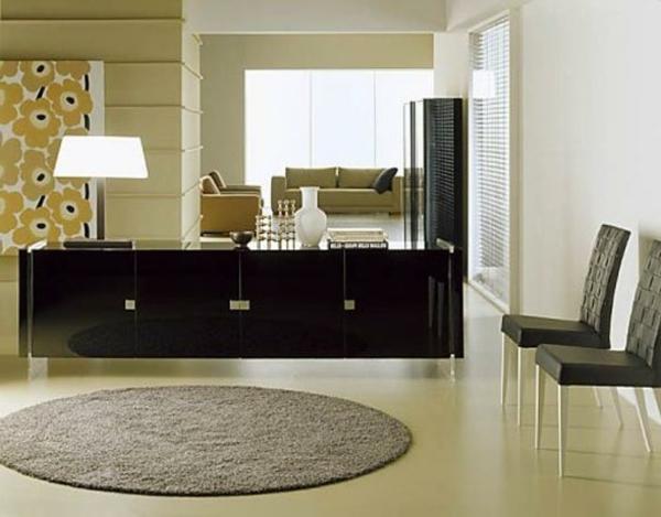 vaisselier-moderne-noir-et-un-tapis-rond