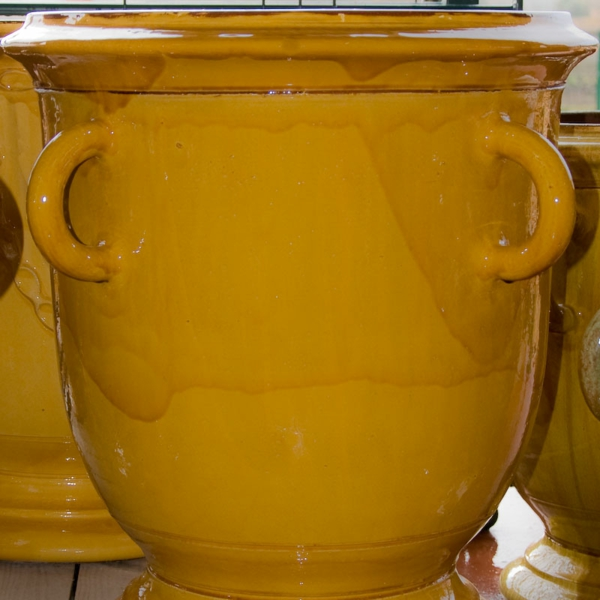 vase-d' anduze-jaune-émaillée