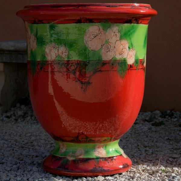 vase-d' anduze-rouge-décorée