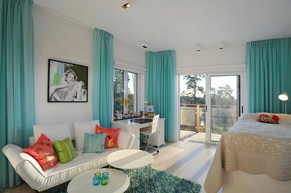 le voilage turquoise pour un int rieur doux et l gant. Black Bedroom Furniture Sets. Home Design Ideas