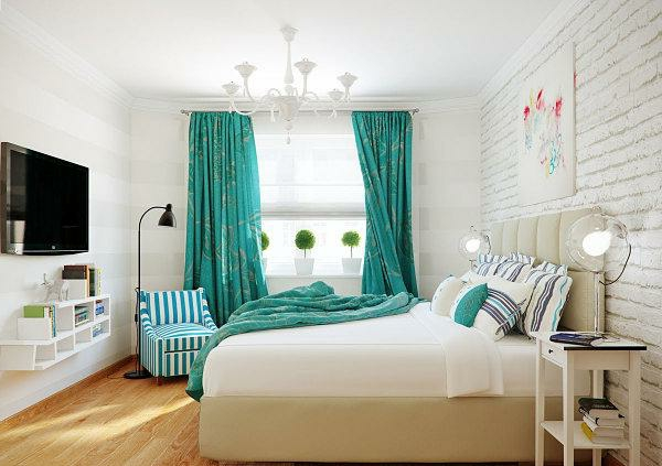 voilage-turquoise-pour-une-chambre-à-coucher-blanche