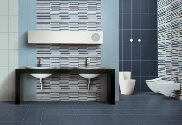 Le carrelage mural de salle de bain for Carrelage salle de bain bleu et gris
