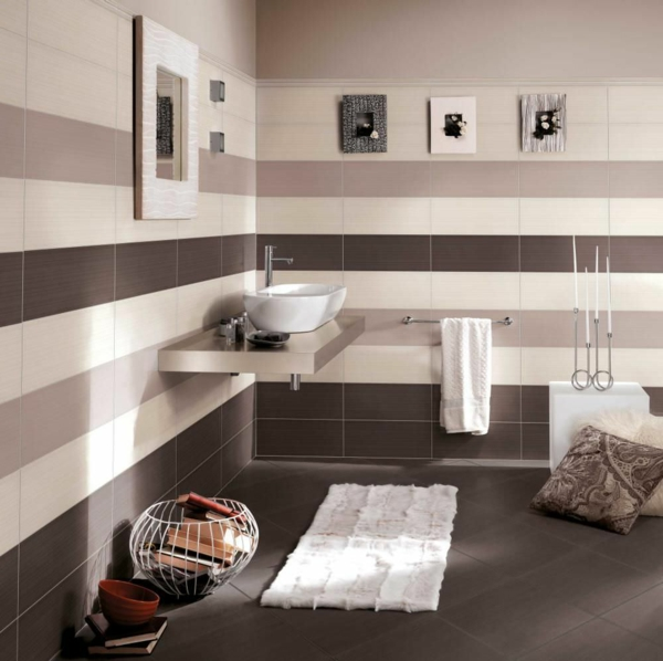 Salle De Bain Beige Brun : Le carrelage mural de salle bain archzine
