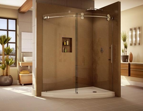 cabine-de-douche-intégrale-et-carrelage-marron