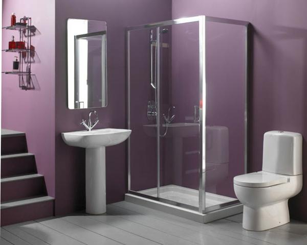 cabine-de-douche-intégrale-murs-lilas