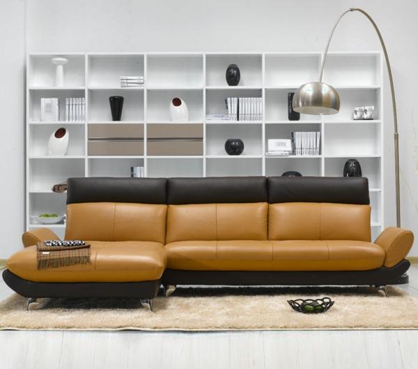 canapé-bicolore-marron-et-orange