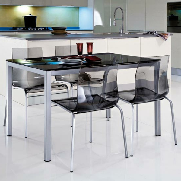 Table de cuisine moderne en verre id es for Chaises transparentes ikea