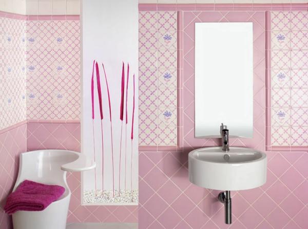 Le carrelage mural de salle de bain for Carrelage salle de bain rose