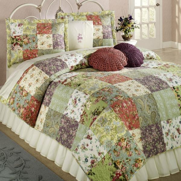 couvre-lit-patchwork-vert-et-blanc