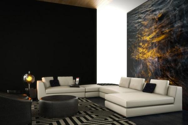 décoration-murale-originale-en-noir-et-jaune