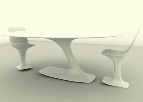 ensemble-table-et-chaise-design-blanc-futuristique