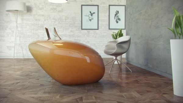 ensemble-table-et-chaise-une-table-jaune-futuriste