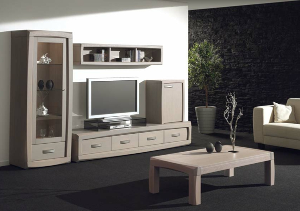 Table tele en bois for Table de television en bois