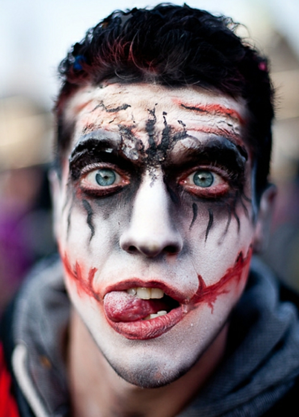 Comment faire le coloriage de halloween pour le visage - Maquillage halloween facile homme ...