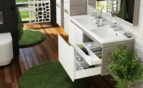 lavabo-à-double-vasque-tapis-ronds