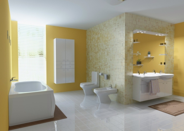 lavabo-à-double-vasque-murs-jaunes-commodes-blancs