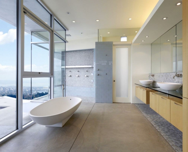 lavabo-à-double-vasque-luminage-encastré