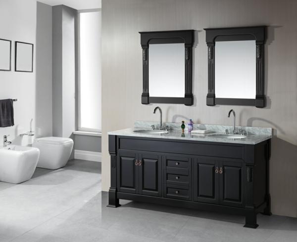 lavabo-à-double-vasque-commode-avec-miroir