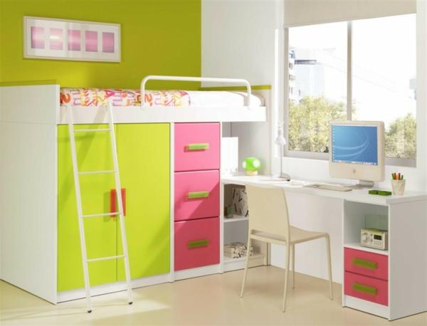 le lit mezzanine avec bureau est l 39 ameublement cr atif pour les chambres d 39 enfant. Black Bedroom Furniture Sets. Home Design Ideas