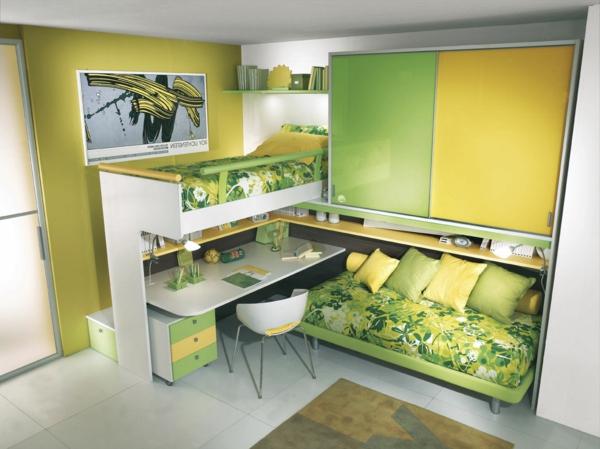 lit-mezzanine-avec-bureau-chambre-d'efant-verte