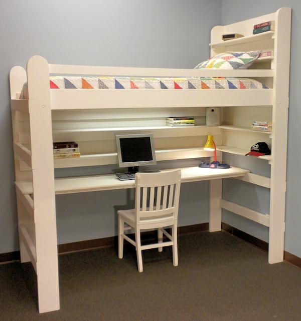Le lit mezzanine avec bureau est l 39 ameublement cr atif pour les chambres - Lit mezzanine ado design ...