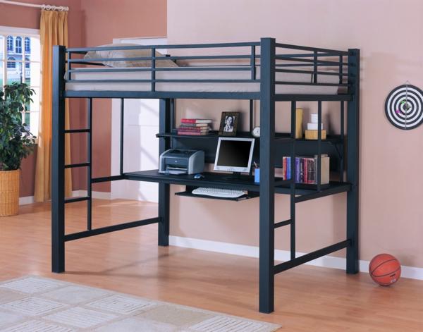 lit mezzanine metal avec bureau