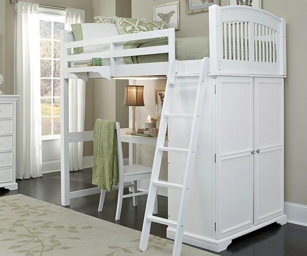 Le lit mezzanine avec bureau est l 39 ameublement cr atif pour les chambres - Lit mezzanine deux personnes ...