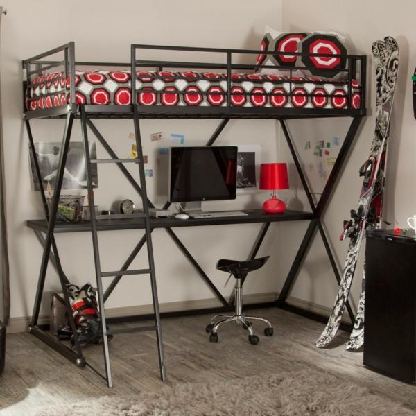 Le lit mezzanine avec bureau est l 39 ameublement cr atif pour les chambres - Lit mezzanine metal avec bureau ...