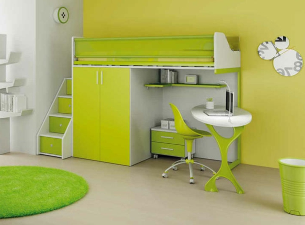 le lit mezzanine avec bureau est l 39 ameublement cr atif. Black Bedroom Furniture Sets. Home Design Ideas
